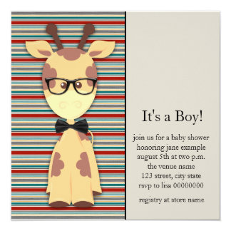 Cute Nerdy Geek Giraffe Baby Boy Shower Personalized Invitations