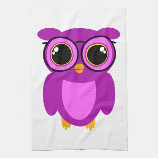 Cute Nerdy Owl Hand Towels