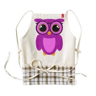 Cute Nerdy Owl Zazzle HEART Apron