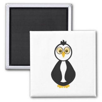 Cute Nerdy Penguin 2 Inch Square Magnet