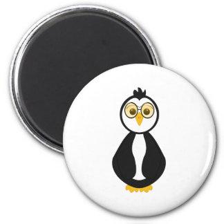 Cute Nerdy Penguin 2 Inch Round Magnet
