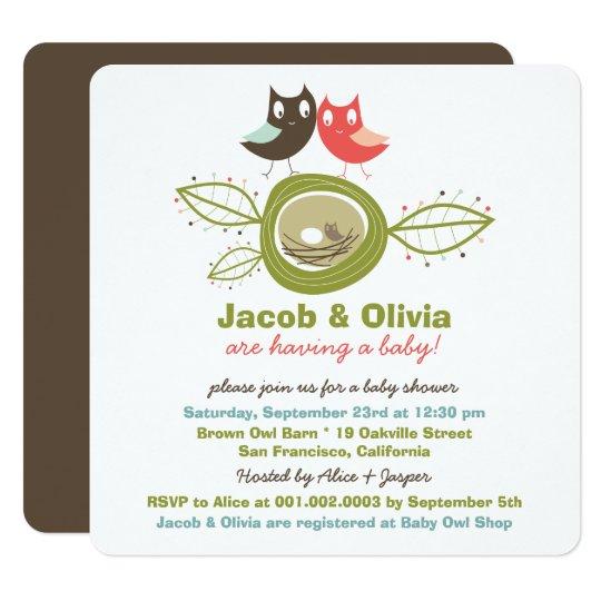 Family Baby Shower Invitations: Cute Nesting Owl Family Baby Shower Invitation