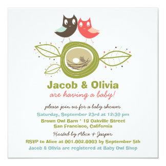"Cute Nesting Owl Family Baby Shower Invitation 5.25"" Square Invitation Card"