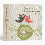 Cute Nesting Owl Family Pregnancy Baby Shower 3 Ring Binder