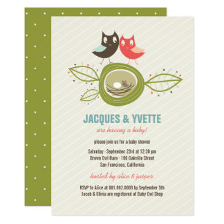 Cute Nesting Owls Family Couple Baby Shower Invite