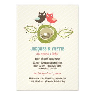 Cute Nesting Owls Family Couple Baby Shower Invite Custom Invitations