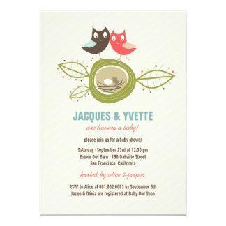 "Cute Nesting Owls Family Couple Baby Shower Invite 5"" X 7"" Invitation Card"