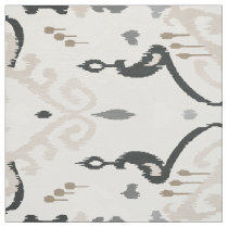 Cute neutral grey beige black ikat tribal patterns fabric