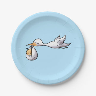 cute new arrival baby shower paper plate