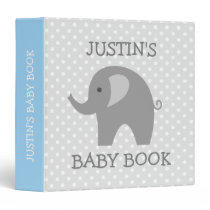 Cute new baby binder with blue and grey elephant
