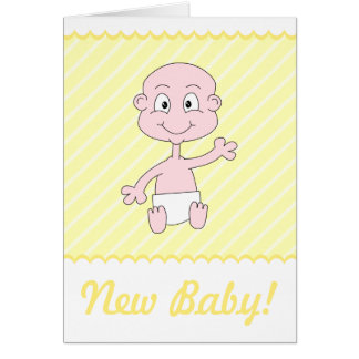Cute New Baby Card. Yellow and White.