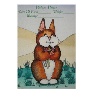 cute new baby name gift with Bunny flowers art Poster