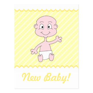 Cute New Baby Postcard. Yellow and White.