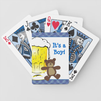 Cute New Dad Teddy Bear Beer Playing Cards