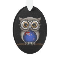 Cute New Zealand Flag Owl Wearing Glasses Ornament