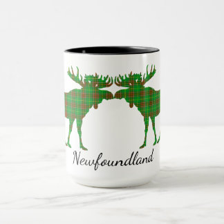 Cute Newfoundland moose kiss tartan coffee mug