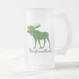 Cute Newfoundland moose tartan frosted mug