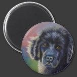 Cute Newfoundland Puppy Dog Art - 2 Inch Round Magnet