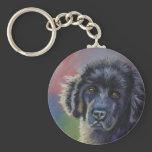 Cute Newfoundland Puppy Dog Art - Basic Round Button Keychain