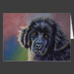 Cute Newfoundland Puppy Dog Art - Card