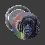 Cute Newfoundland Puppy Dog Art - Pinback Button