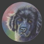 Cute Newfoundland Puppy Dog Art - Round Stickers