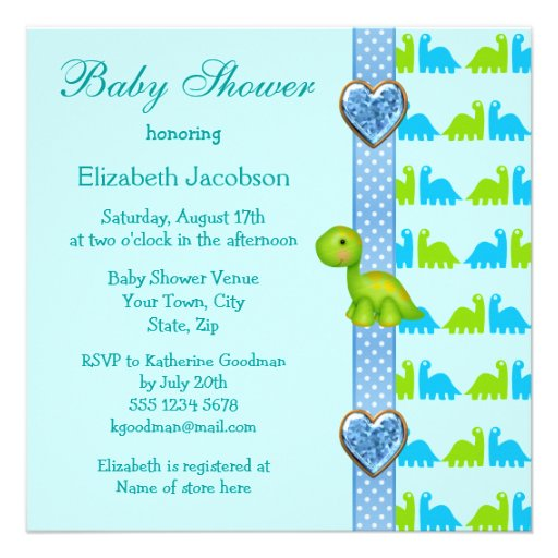Cute Newly Hatched Baby Dinosaur Baby Shower Invite (back side)