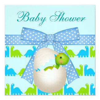 Cute Newly Hatched Baby Dinosaur Baby Shower 5.25x5.25 Square Paper Invitation Card