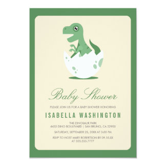 Cute Newly Hatched T.Rex in Egg Baby Shower Card