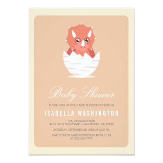 Cute Newly Hatched Triceratops in Egg Baby Shower Card