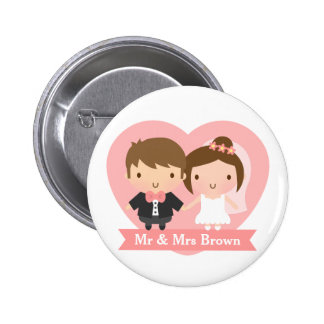 Cute Newlyweds Happily Married Couple Button