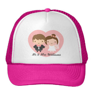 Cute Newlyweds Happily Married Couple Trucker Hat