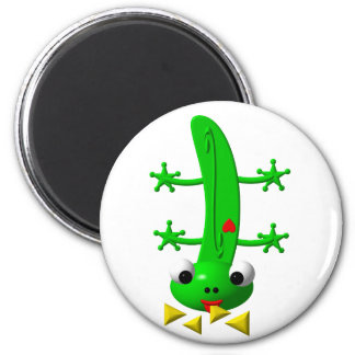 Cute newt nibbling nachos 2 inch round magnet