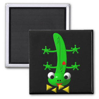 Cute newt nibbling nachos 2 inch square magnet