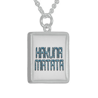 Cute Nice Lovely Hakuna Matata Design Text art Sterling Silver Necklace