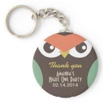 Cute Night Owl Birthday Party Gift Keychain