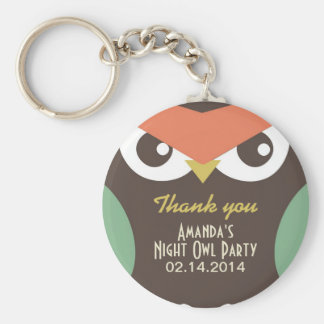 Cute Night Owl Birthday Party Gift Keychain