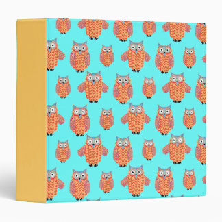 Cute Night Owl Fun Brightly Colored Drawing 3 Ring Binder