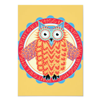 Cute Night Owl Fun Brightly Colored Drawing Card