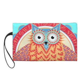 Cute Night Owl Fun Brightly Colored Drawing Wristlet