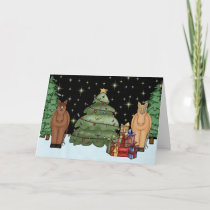Cute Night-time Horses, Christmas Tree and Gifts Holiday Card