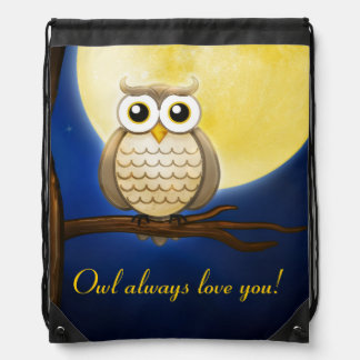 Cute Night Wise Owl Drawstring Backpack
