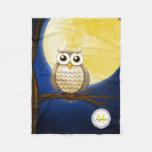 Cute Night Wise Owl Fleece Blanket