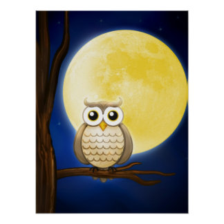 Cute Night Wise Owl | Poster