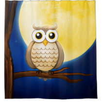 Cute Night Wise Owl Shower Curtain