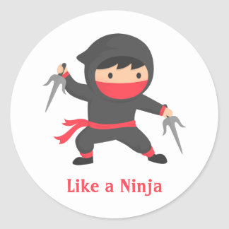 Cute Ninja Boy with Sai Weapons for Kids Classic Round Sticker