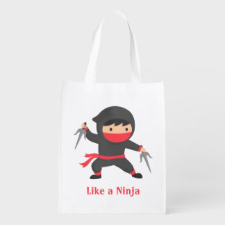 Cute Ninja Kid with Sai Weapons for Kids Reusable Grocery Bag
