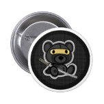 Cute ninja samurai warrior teddy bear button