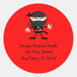 Cute Ninja Warrior Address Classic Round Sticker