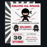 "Cute Ninja Warrior Kids Birthday Party Invitation<br><div class=""desc"">Amaze your guests with this modern ninja birthday party invitation featuring cute little ninjas with eye-catching typography against a white background. Simply add your event details on this easy-to-use template to make it a one-of-a-kind invitation. Flip the card over to reveal an elegant black and white starburst pattern on the...</div>"